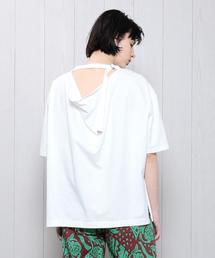 <SAYAKA DAVIS>BACK DRAPE T-SHIRT/Tシャツ