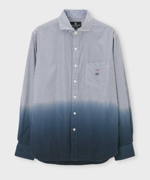 ワンポイントストライプ グラデーションシャツ