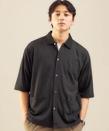 <green label relaxing>ドライ ウールミックス 前開き ポロシャツ -吸水速乾・ウォッシャブル-