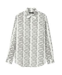 SNAKE LOOP柄 レギュラーカラーシャツホワイト