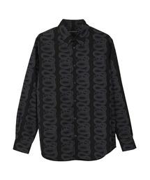 SNAKE LOOP柄 レギュラーカラーシャツブラック