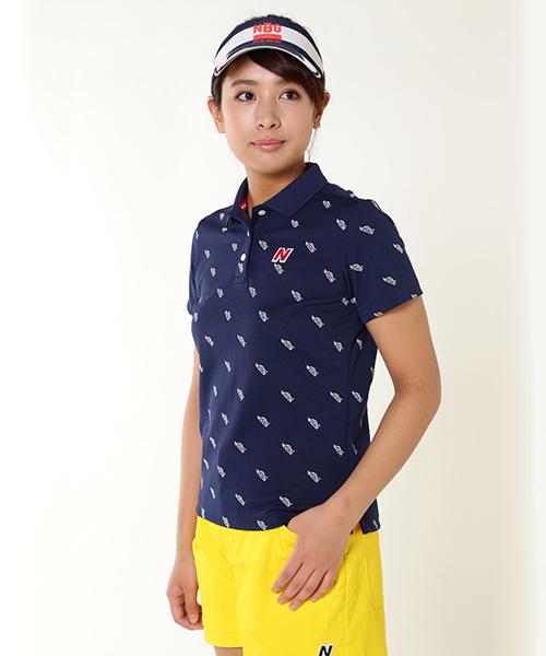 New Balance Golf(ニューバランスゴルフ)の「【new balance golf】シューズモノグラム半袖ポロシャツ (WOMENS METRO)(ポロシャツ)」|ネイビー