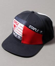 【STAPLE】トリプル 刺繍 パッチワーク ロゴテープ ベースボールキャップ(キャップ)