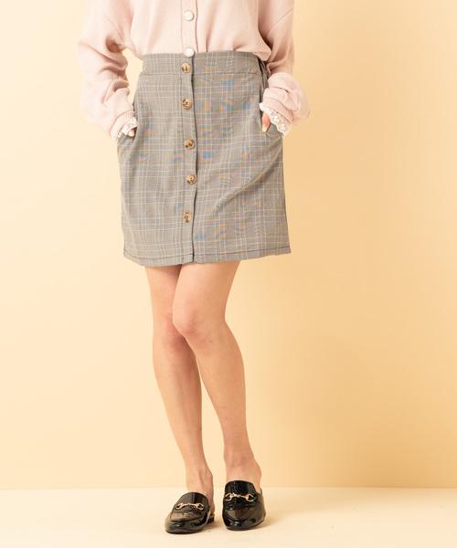 チェック前釦台形スカート