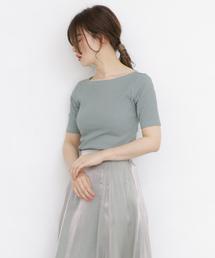 KBF(ケイビーエフ)のilli RIBボートネックTシャツ(Tシャツ/カットソー)