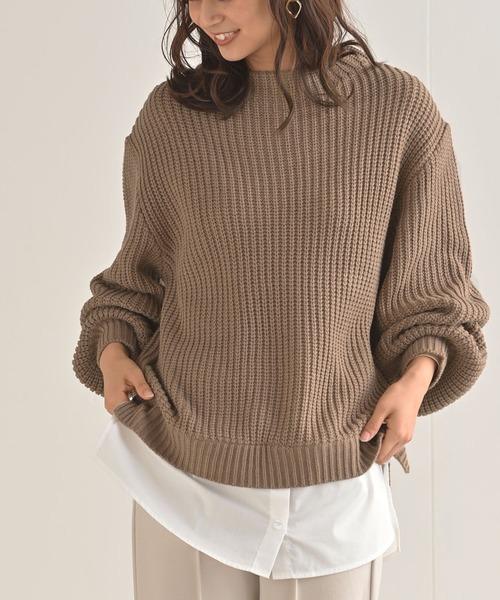 rps(アールピーエス)の「シャツドッキングニットプルオーバー(ニット/セーター)」|モカ