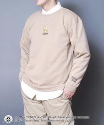 【ルーニー・チューンズ】 キャラクターポンチTトレーナー ロンT ワンポイント刺繍 ユニセックスベージュ