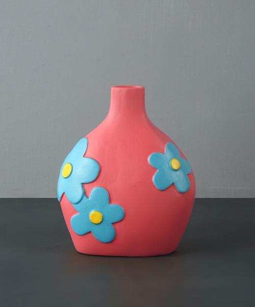 カラフルなお花の陶器花瓶
