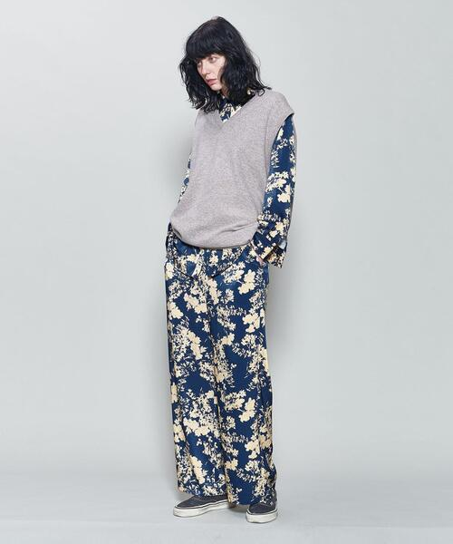 <6(ROKU)>SATIN FLOWER PRINT PANTS/パンツ