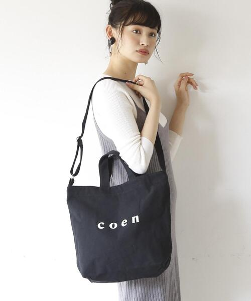 【WEB限定カラー:シルバー】coen2WAYロゴトートバッグ
