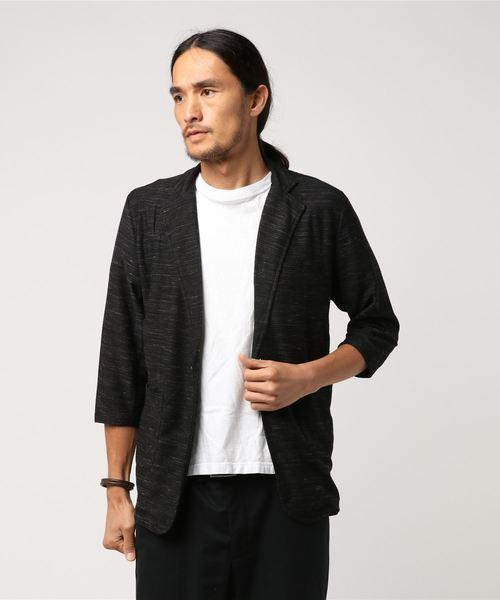 セマンティックデザイン/semantic design スラブリップル7分袖カットジャケット(黒・ネイビー)