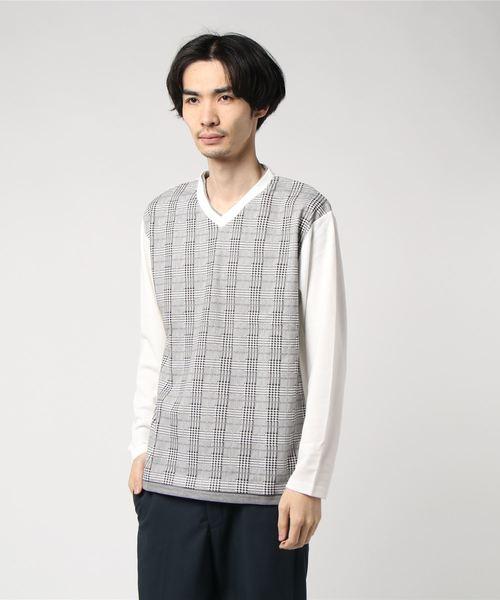 CERONIAS/セロニアス ポンチグレンチェック 切替フェイク 長袖Tシャツ