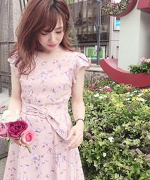 MISCH MASCH(ミッシュマッシュ)の袖フレアー配色花柄ワンピース(ワンピース)