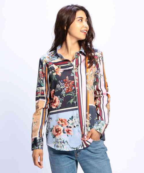 お待たせ! フラワーパネルプリント長袖シャツ, Flawless b1d4eb93