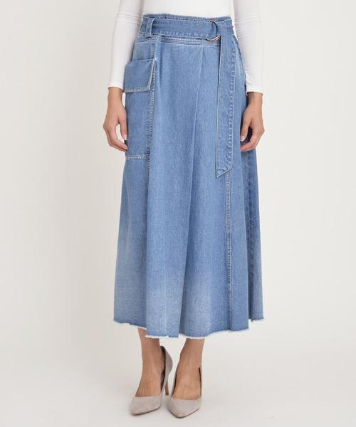 Moname(モナーム)の「フレア スカート(デニムスカート)」|サックスブルー