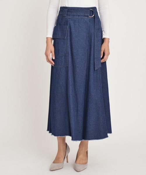 Moname(モナーム)の「フレア スカート(デニムスカート)」|インディゴブルー