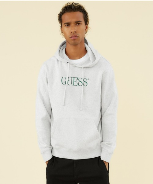 Guess(ゲス)の「GUESS Originals Eco Roy Fleece Logo Hooded Parka(パーカー)」|グレー