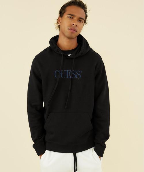 Guess(ゲス)の「GUESS Originals Eco Roy Fleece Logo Hooded Parka(パーカー)」|ブラック