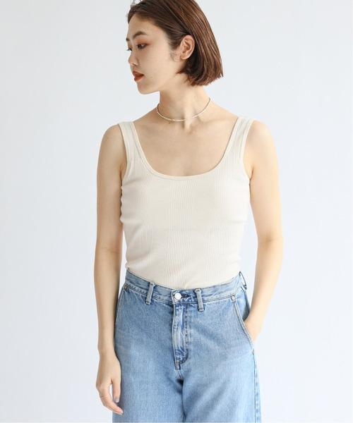 Organic Cotton ランダムリブバックオープン ブラタンク EMILY WEEK × IENA◆