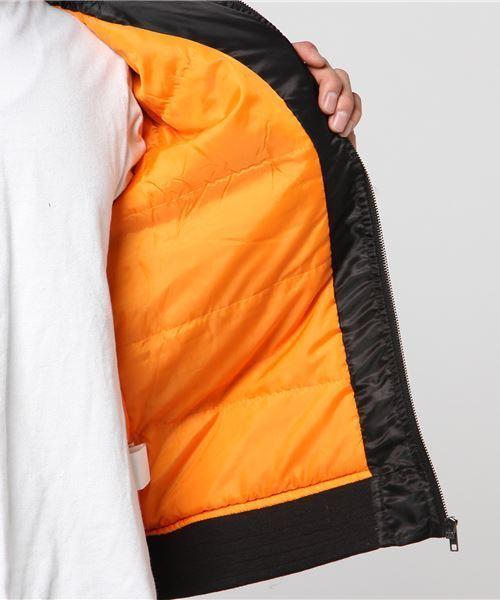 ポリツイルフード脱着式中綿スタンドリブフライトジャケット