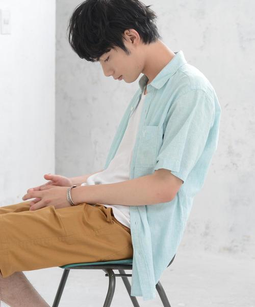 綿麻ヘアラインストライプシャツ