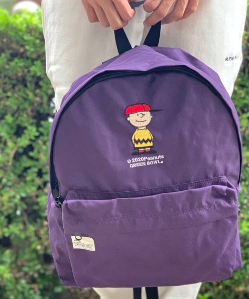 SNOOPY×OLD BETTY'S(スヌーピーカケルオールドベティーズ)の「SNOOPY Embroidery Backpack(CHARLIE BROWN) /スヌーピー 刺繍 バックパック リュック チャーリーブラウン(バックパック/リュック)」|パープル