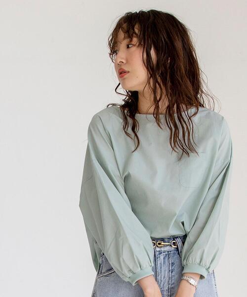 パフ袖ポケットTシャツブラウス(ボリューム袖/袖コンシャス/スモック/ポケT)