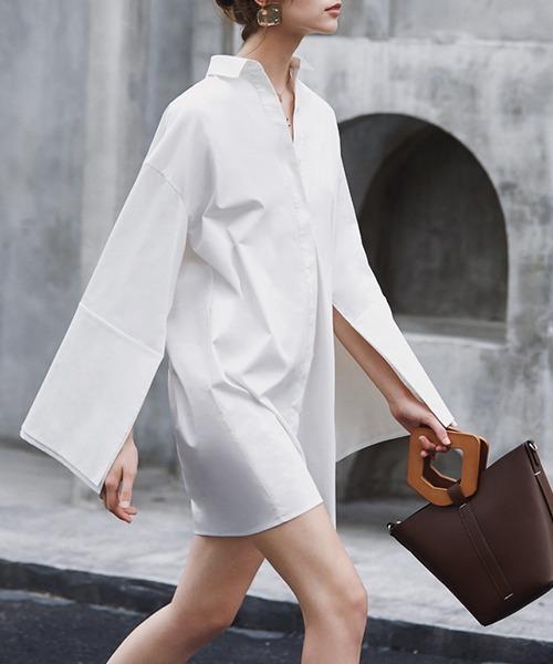 【chuclla】【2021/AW】Slit sleeve long shirt chw21a052