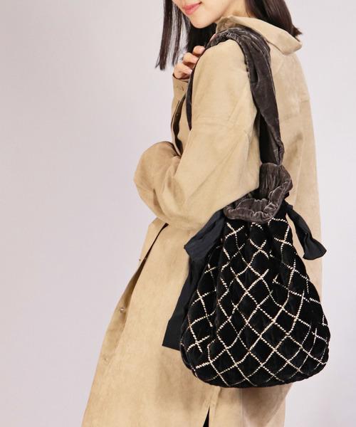 【ne Quittez pas/ヌキテパ】サイドリボン ベロア 巾着BAG