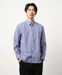 リラックスギンガムチェックシャツ 長袖 ボタンダウン オーバーサイズ/ビッグシルエットブルー