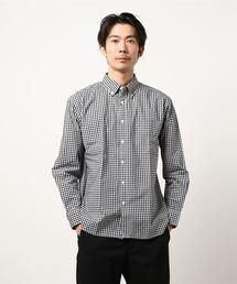 リラックスギンガムチェックシャツ 長袖 ボタンダウン オーバーサイズ/ビッグシルエットブラック