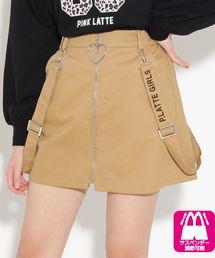 PINK-latte(ピンク ラテ)のハートチャーム付 前ZIPサス付 スカート(スカート)
