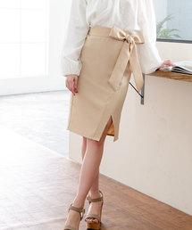 夢展望(ユメテンボウ)の2WAYスリット裾チュールウエストリボンツイルタイトスカート(スカート)