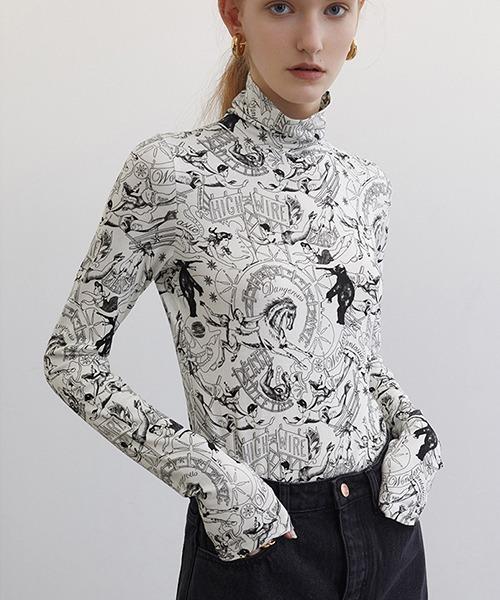 【Fano Studios】【2021SS】High neck total pattern print L/S T-shirt FC21S090