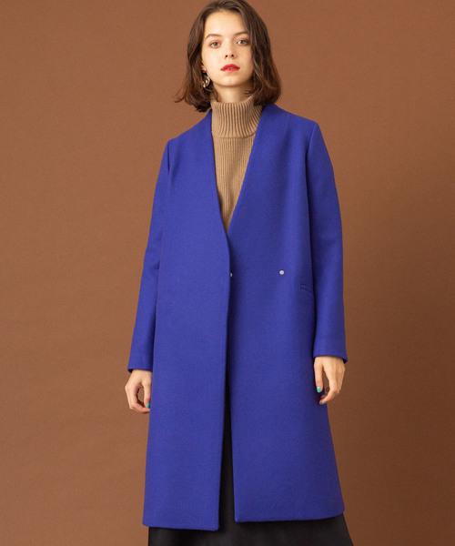 UNITED TOKYO(ユナイテッドトウキョウ)の「Vネックノーカラーコート(ノーカラーコート)」 ブルー