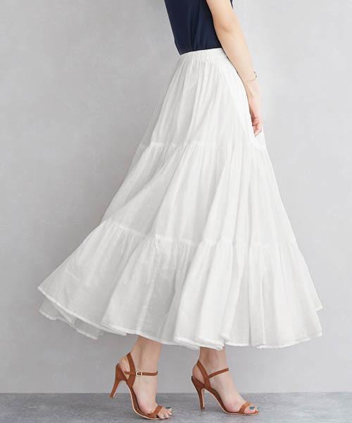 Pierrot(ピエロ)の「ティアードロングフレアスカート(スカート)」|オフホワイト
