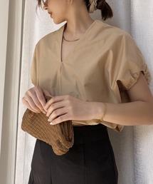 【chuclla】V-neck volume blouse sb-5 chw1228ベージュ