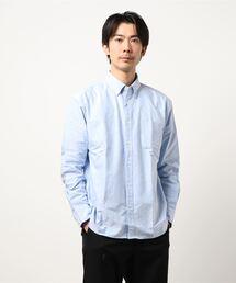 リラックスフィットオックスBDシャツ ボタンダウン オーバーサイズ/ビッグシルエットサックスブルー