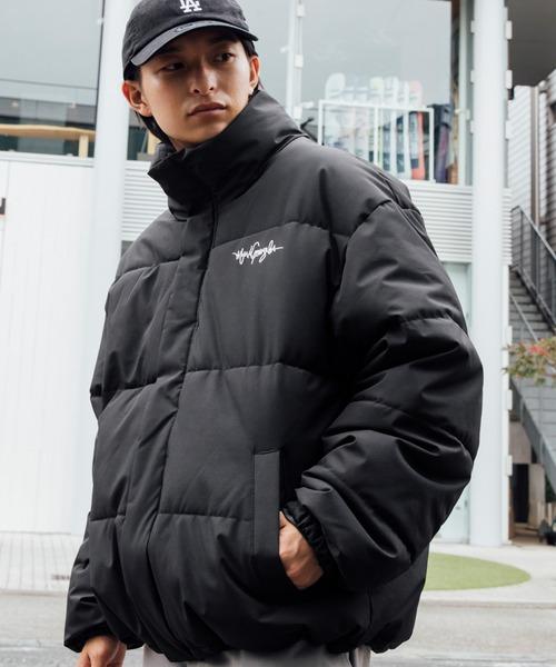 Mark Gonzales/マークゴンザレス MONO-MART別注 ロゴ刺繍 オーバーサイズ スタンド エコダウンジャケット