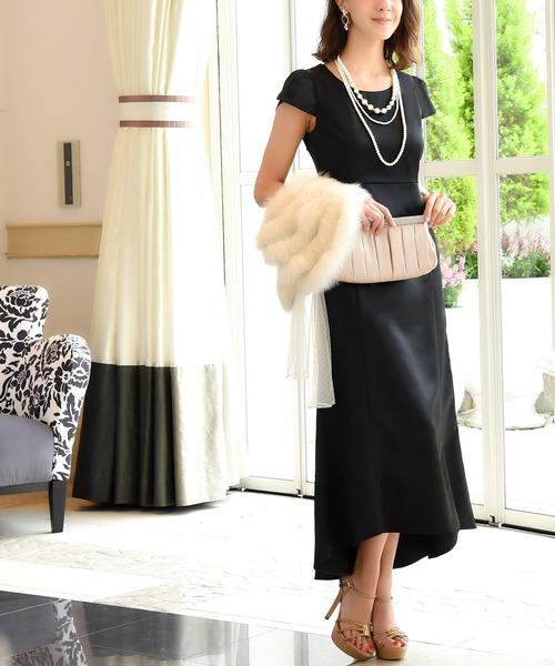 RUIRUE BOUTIQUE(ルイルエブティック)の「バックフリルロングワンピース/結婚式・お呼ばれ・二次会・同窓会・成人式対応フォーマルパーティードレス(ドレス)」 ブラック