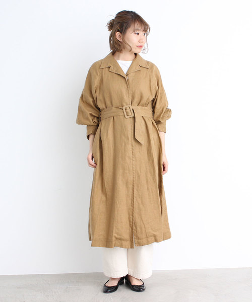 麻チンツ ベルト付き開襟コート