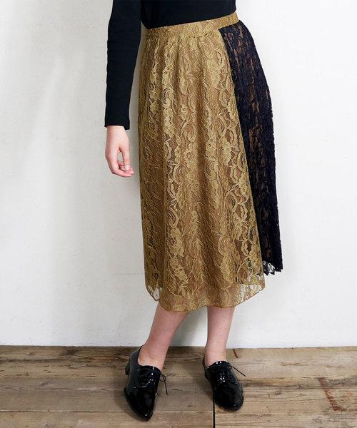 ∴【GREENDALE GARNET/グリーンデイルガーネット】配色レースロングスカート