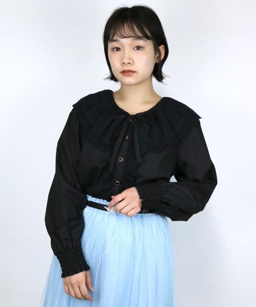 ParAvion + Petit Standard(パラビオンスタンダードプチ)の「レースギャザー衿ブラウス(シャツ/ブラウス)」|ブラック