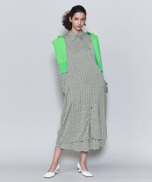 <6(ROKU)>SQUARE DOT PRINT DRESS/ワンピース