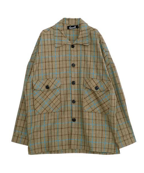 フラップポケットビッグシルエット長袖チェックシャツ / CARE19-04