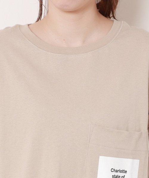 ラバープリント胸ポケット付裾ラウンドワンピース