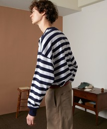 オーバーサイズ ボーダーL/Sカットソー EMMA CLOTHES 2021AWネイビー
