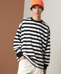 オーバーサイズ ボーダーL/Sカットソー EMMA CLOTHES 2021AWブラック