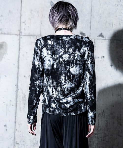 Bernings Sho 汚しプリントフェイクインナードレープ長袖Tシャツ / 3321-43