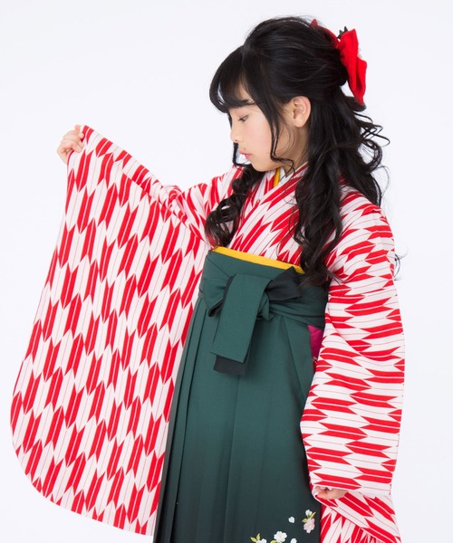 KIMONOMACHI 子供用 袴3点セット(二尺袖着物+袴+袴下帯)